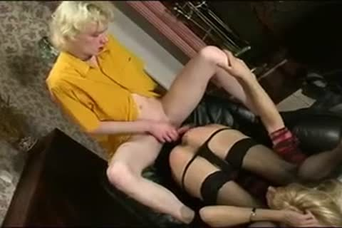 nice-looking blond Crossdresser Has joy With weenie On Chair