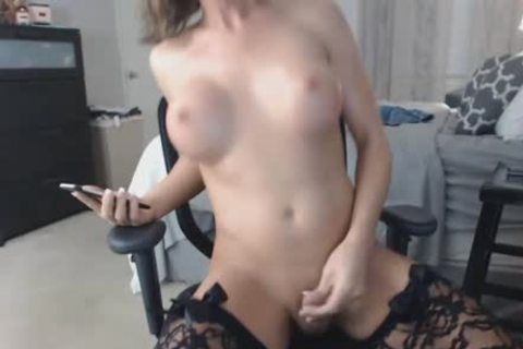 breasty blond tranny Rides sex tool On web camera
