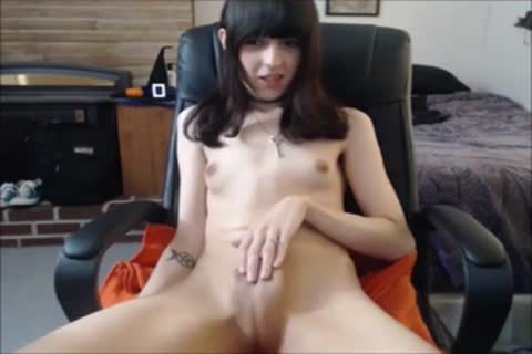 young brunette tgirl Makes Her petite knob