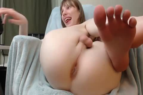 Petite lady-man Cums In Vibrating toy & Shows Off Her darksome hole & delicious Feet