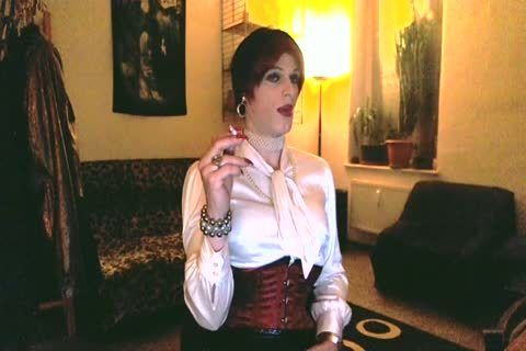 White Satin Lady Smoking And Playing