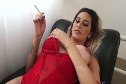 Smoking And Masturbating tranny