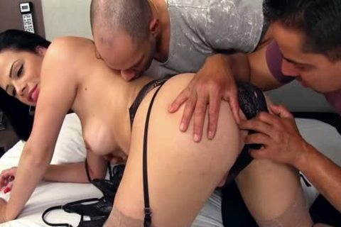 nice-looking sheboy Bruna Castro Sucks And bonks Two Delivery guys