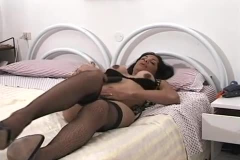 brunette lady-man Plays With Her dick while insert Her toy In Her wazoo And Then acquire poked In The wazoo By massive dick In couch