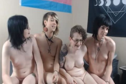 A Bunch Of juicy trannies kissing And Giving Handjobs