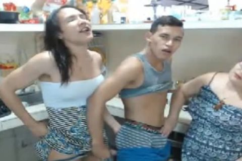 lady-man Kitchen Action With fellows And BBW