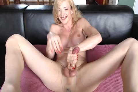 German lady-man In pantyhose Edges Hard ramrod And Cums A petite in number Droplets