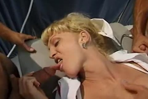 blonde ladyman With perfect bumpers Olivia Love  Sucks Two rods Then acquires Her backdoor nailed By Two guys