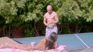 TransAngels - Natassia Dreams ass licking in the pool