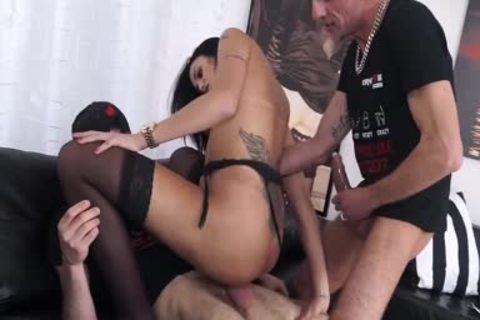 Juliana Soares lewd Brazilian shemale gets Her taut ass drilled By Two gigantic cocks