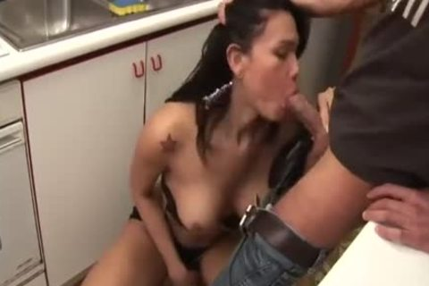 busty TS chick Rides On A Sofa